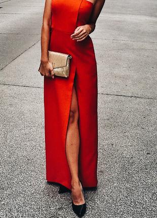 Платье длинное в пол, вечернее, выпускное, красное