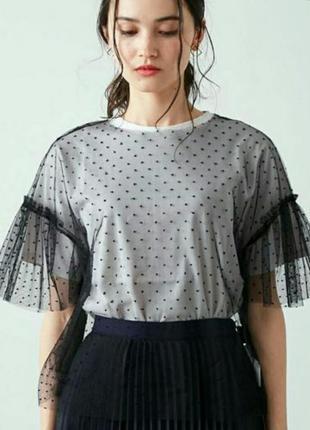Прозрачная кофточка в горошек с кружевом кроше, футболка из сеточки с-л