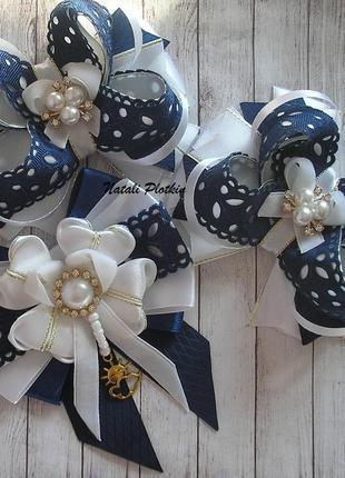 Набор школьных бантиков и галстучек под синюю форму