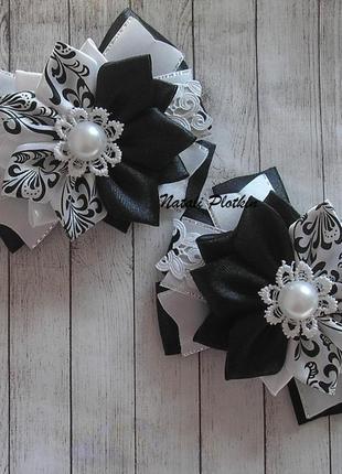 Бантики черно-белые под школьную форму