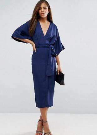 Синее классическое миди платье