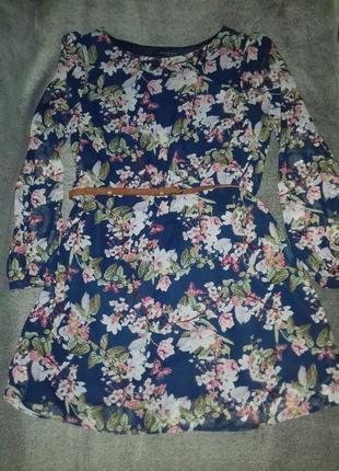 Шикарное шифоновое синее с цветочным принтом платье atmosphere
