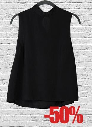 Блуза черная без рукавов классическая