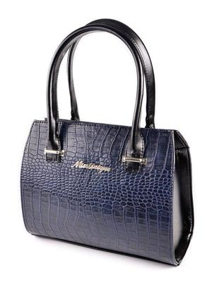 Синяя крокодиловая деловая сумка саквояж небольшая с ручками