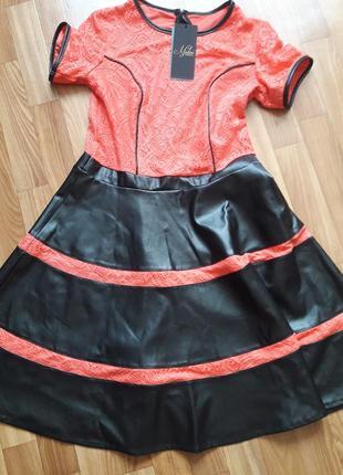 Платье с юбкой из еко кожи