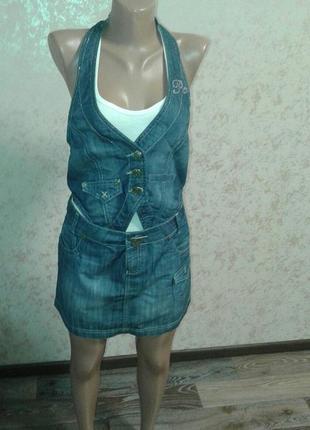Джинсовый костюм/ комплект (джинсовая юбка и джинсовая жилетка/жилет )