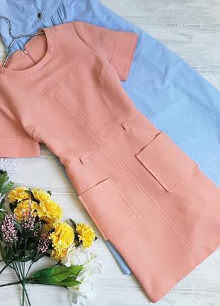 Нежно-персиковое платье с накладными кармашками в111219 tu размер uk8 (s)