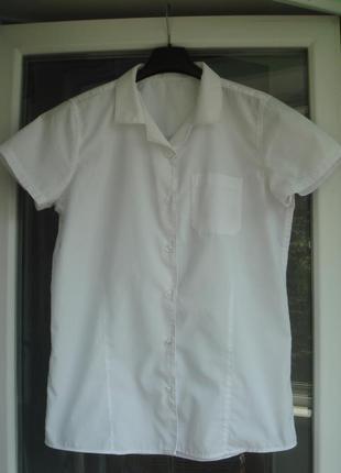 Блузка f&f девочке 14-15 лет, р.164-170 белая школьная рубашка