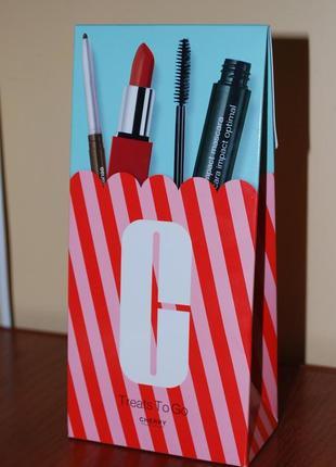 Clinique набор: тушь high impact mascara + pop lip color мини + карандаш для глаз