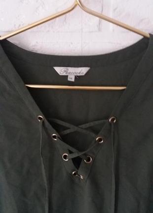 Блуза майка на шнуровке цвета хаки