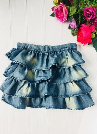 Пышная джинсовая юбка в рюши