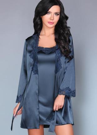 Jacqueline синий комплект набор халат с пеньюаром и стринги