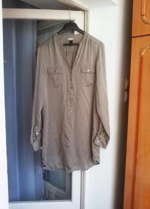 Трендовое шелковое платье рубашка h&m 100% шелк