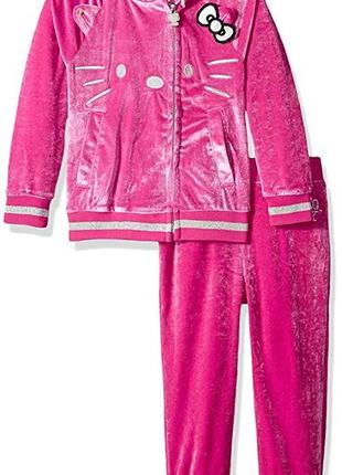 Велюровый костюм кофта куртка и штаны hello kitty на девочку 3 года