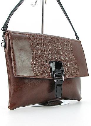 Коричневая кожаная сумка-клатч через плечо с крокодиловым тиснением