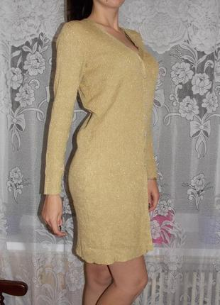 Красивое золотистое платье-кардиган в рубчик hilard&hanson 36 размер!!2 фото