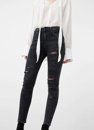 Новые рваные джинсы скинни mango