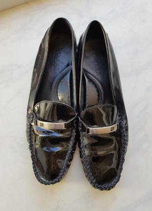 Туфли мокасины из кожи на низком ходу