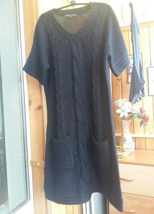 Тёплое вязаное платье туника косичка