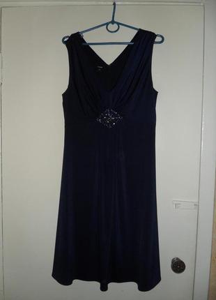 """Темно-синее платье """"под грудь"""""""