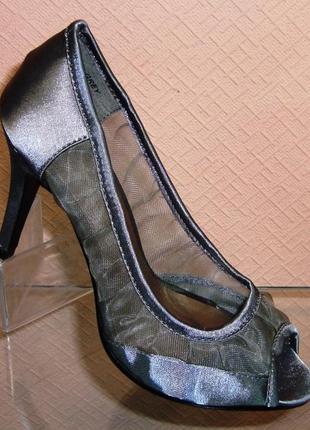 Атласные серые туфли на каблуке с открытым носом польша, цена - 290 ... 39d5b24bec2