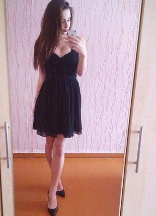 Стильное черное вечернее платье h&m