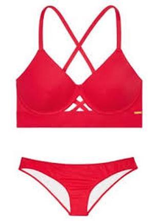 Красный купальник с высокими плавками victoria's secret