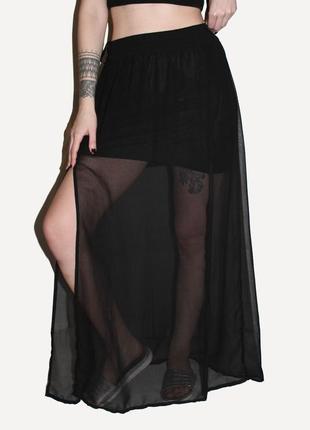 Модная полупрозрачная макси юбка