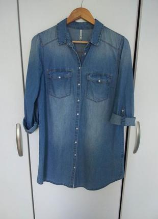 Джинсовая рубашка-платье  stradivarius