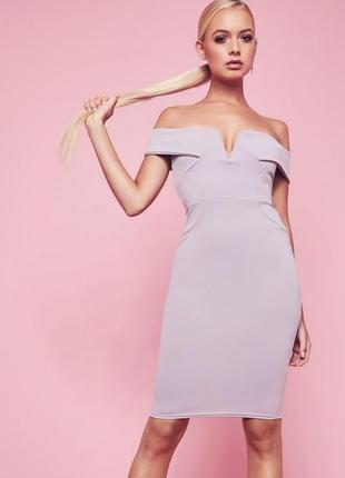 Платье миди с открытыми плечиками missguided