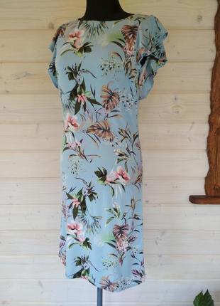 Фирменное платье миди в тропическом стиле, из лёгкой вискозы