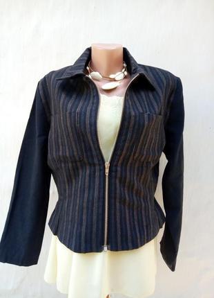 Синий фактурный винтаж 100% шерстяной жакет в полоску на молнии,пиджак.