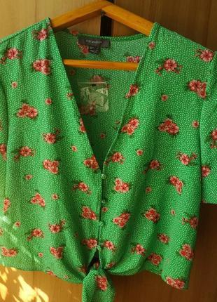 Кроп рубашка на завязках primark