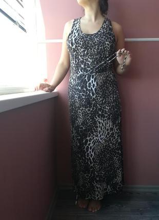 Вискозное ( типа трикотажное ) длинное платье