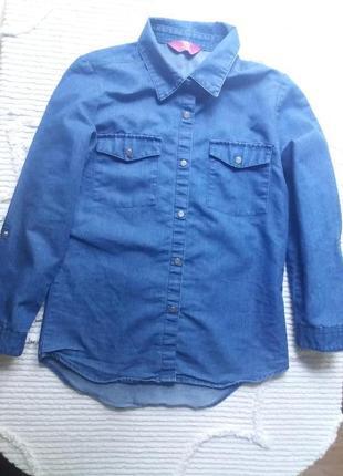 Джинсовая рубашка на кнопках 10-11 лет