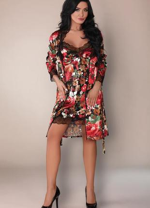 Mariee livia corsetti халат с пеньюаром в комплекте пояс и стринги красивая упаковка