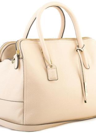 Кожаная бежевая сумочка с короткими ручками, сумка с длинной ручкой
