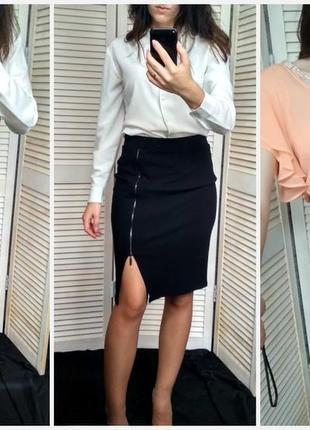 Черная юбка-карандаш с молнией сбоку / деловая юбка / юбка-миди