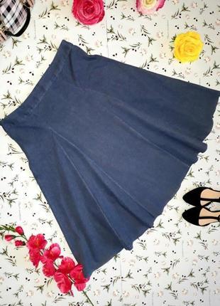 Юбка миди с клиньями, ткань сделана под джинсу, турция, размер 48 - 50