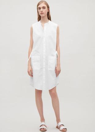 Cos платье белое / сарафан легкий летний 100% хлопок, размер м