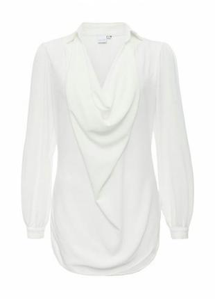 Стильная белая блузка, блуза, отложной воротник, оверсайз