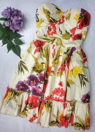 Очень красивое хлопковое платье бьюсте , с пышной юбкой , с рюшей от new look