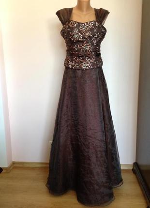Длинное шоколадное елегантное вечернее, концертное платье. /xl/ brend nientie