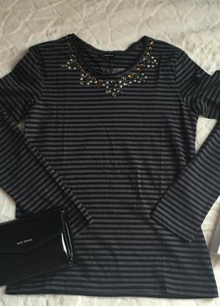 Новый полосатый джемпер more & more украшенный бисером черно-серый