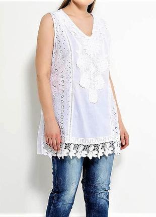 Летняя пляжная туника блуза рубашка из хлопка с кружевом прошва испания пляжная3 фото
