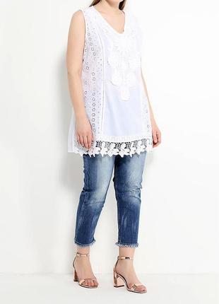Летняя пляжная туника блуза рубашка из хлопка с кружевом прошва испания пляжная4 фото