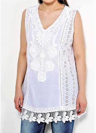Летняя пляжная туника блуза рубашка из хлопка с кружевом прошва испания пляжная2 фото