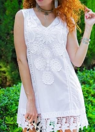Летняя пляжная туника блуза рубашка из хлопка с кружевом прошва испания пляжная