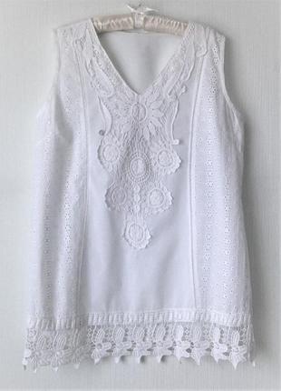 Летняя пляжная туника блуза рубашка из хлопка с кружевом прошва испания пляжная5 фото