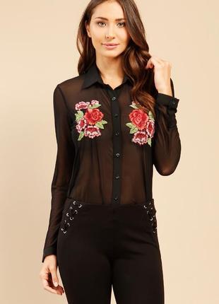 Черная шифоновая рубашка с вышивкой от new look, размер 52 - 54